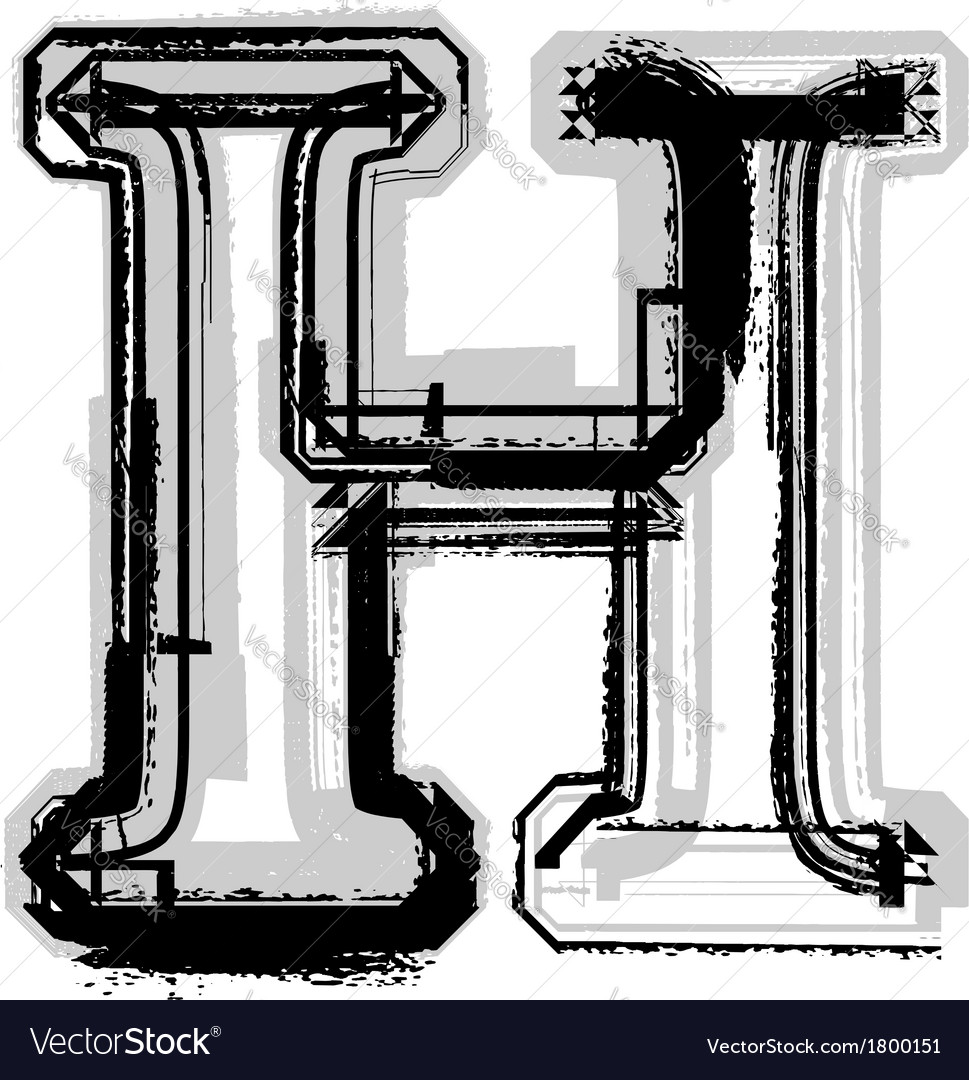 Grunge font letter h vector | Price: 1 Credit (USD $1)