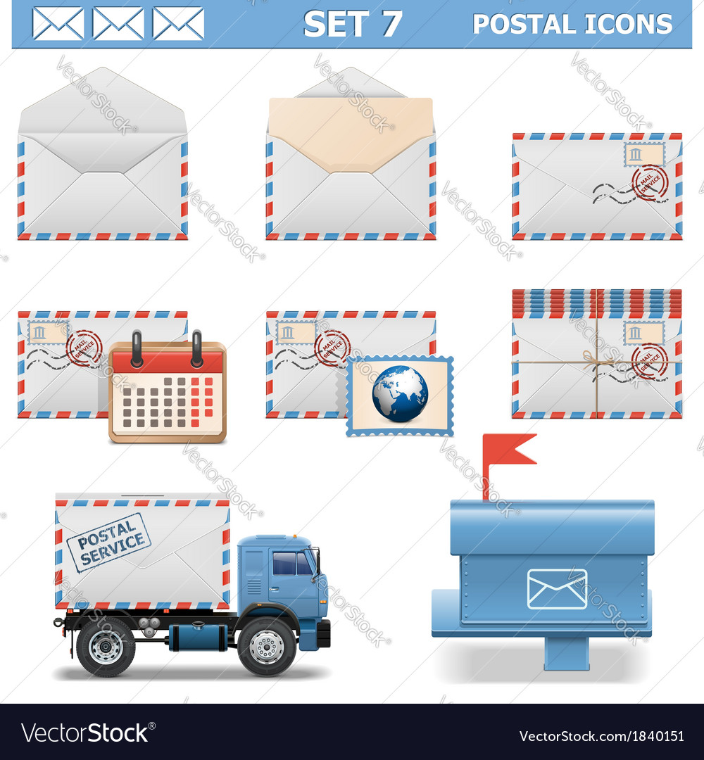 Postal icons set 7 vector | Price: 1 Credit (USD $1)