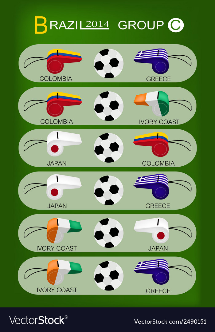 Soccer tournament of brazil 2014 group c vector | Price: 1 Credit (USD $1)