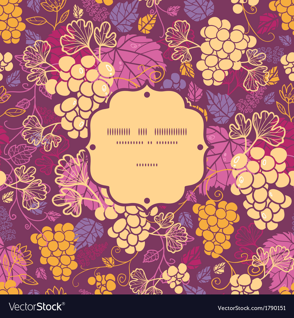 Sweet grape vines frame seamless pattern vector | Price: 1 Credit (USD $1)