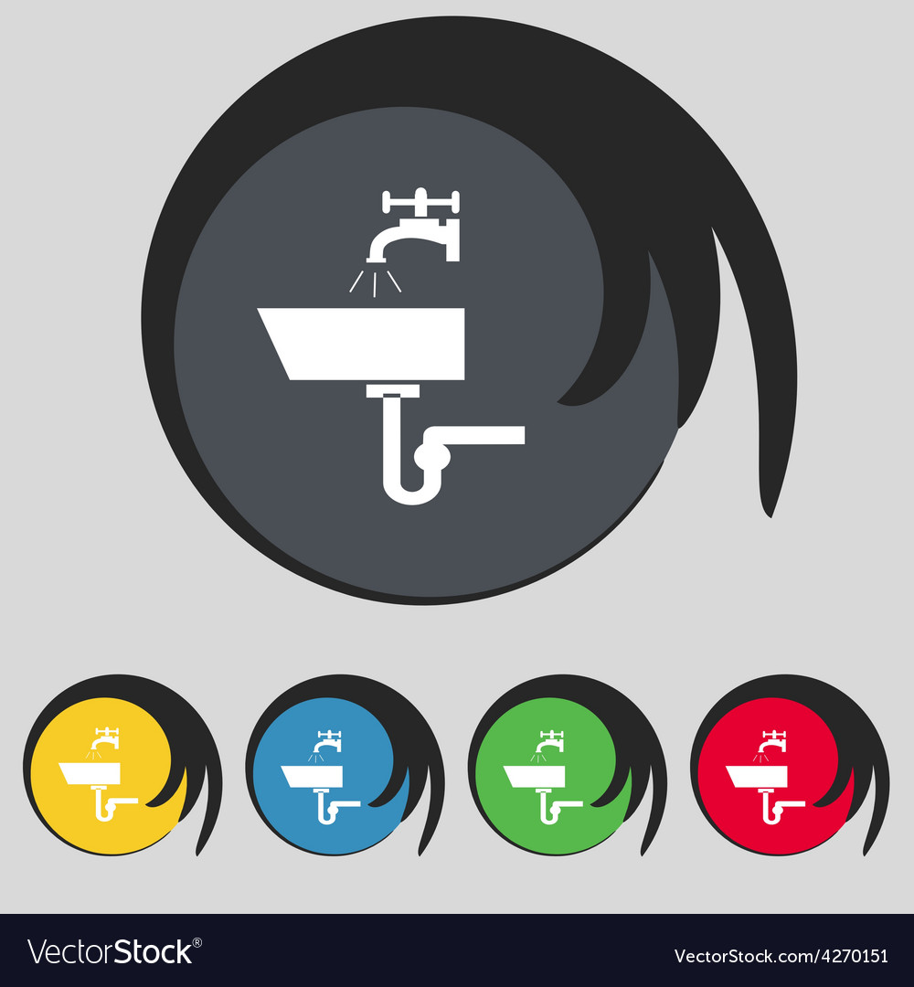 Washbasin icon sign symbol on five colored buttons vector | Price: 1 Credit (USD $1)