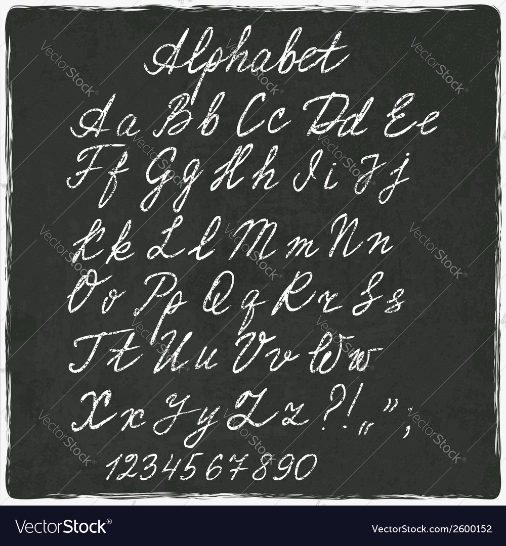 Alphabet old black board vector | Price: 1 Credit (USD $1)
