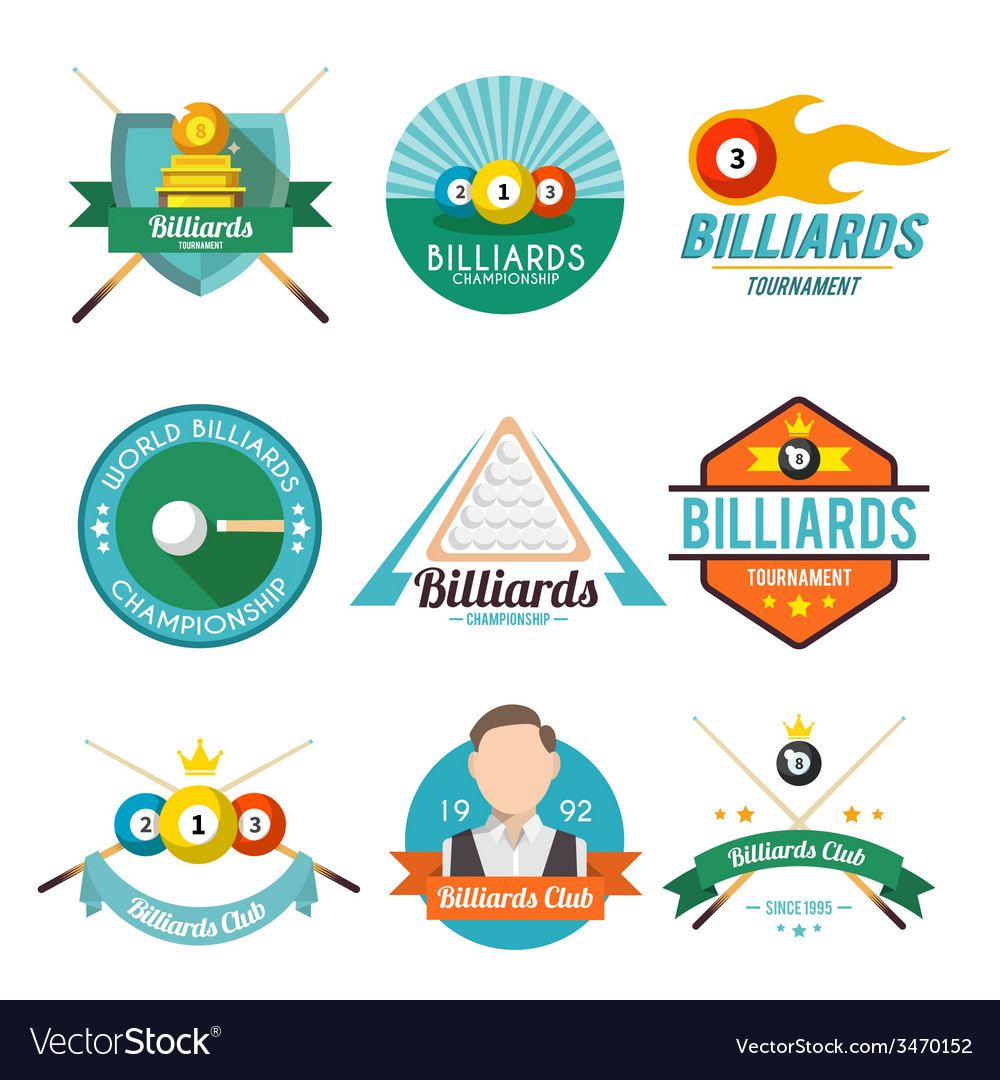 Billiard label set vector | Price: 1 Credit (USD $1)