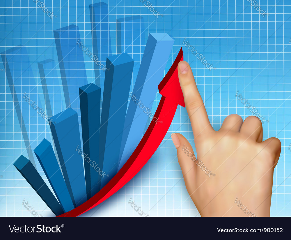 Business colorful graph with hand vector | Price: 3 Credit (USD $3)