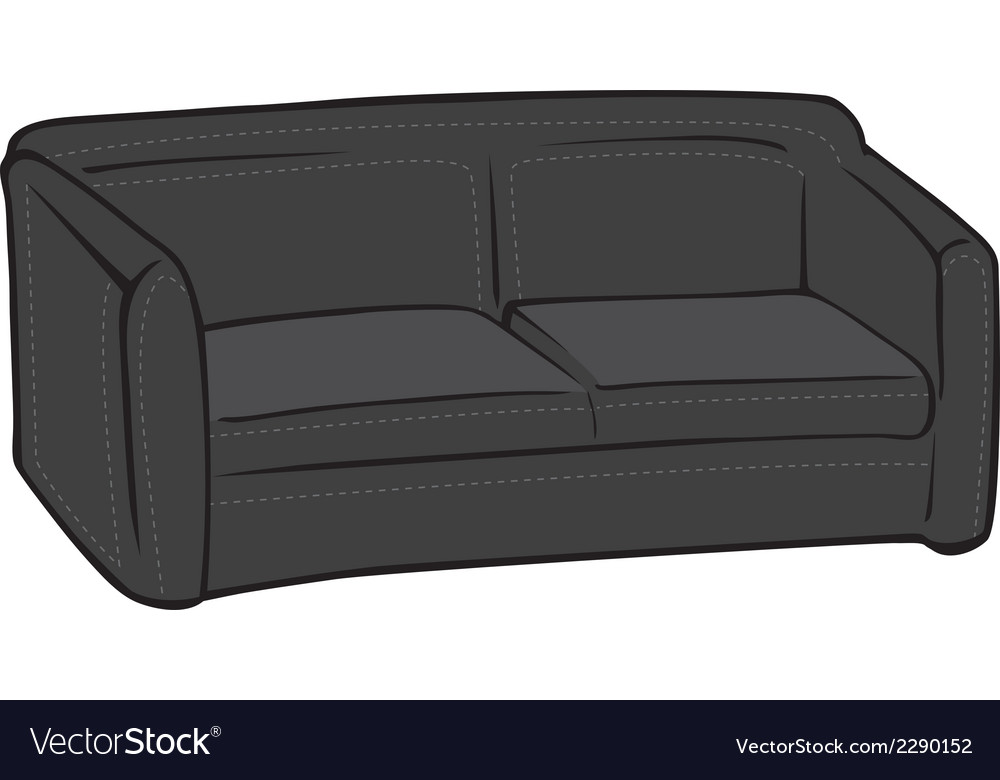 Couch black leather vector | Price: 1 Credit (USD $1)