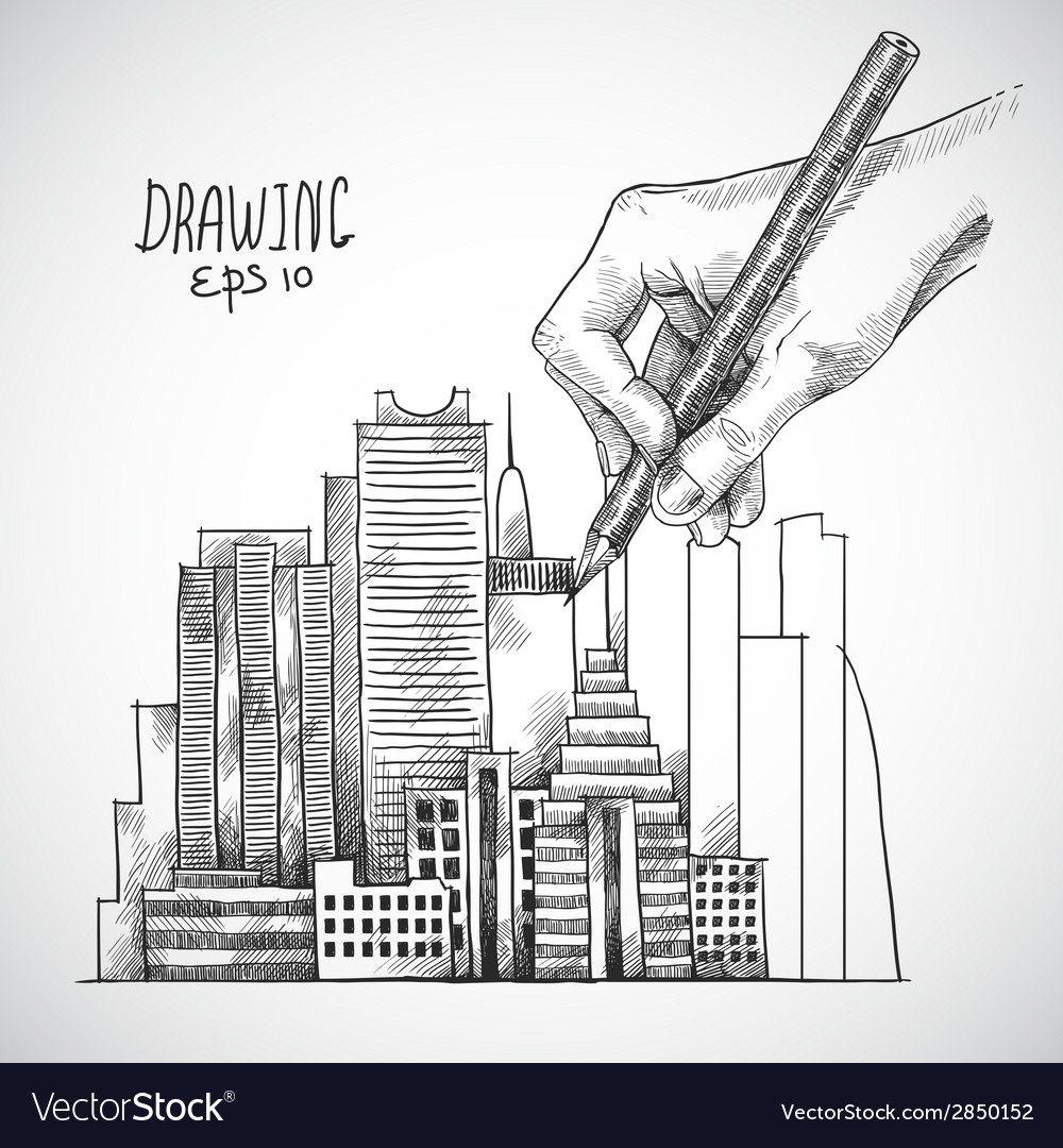 Hand drawing building vector | Price: 1 Credit (USD $1)