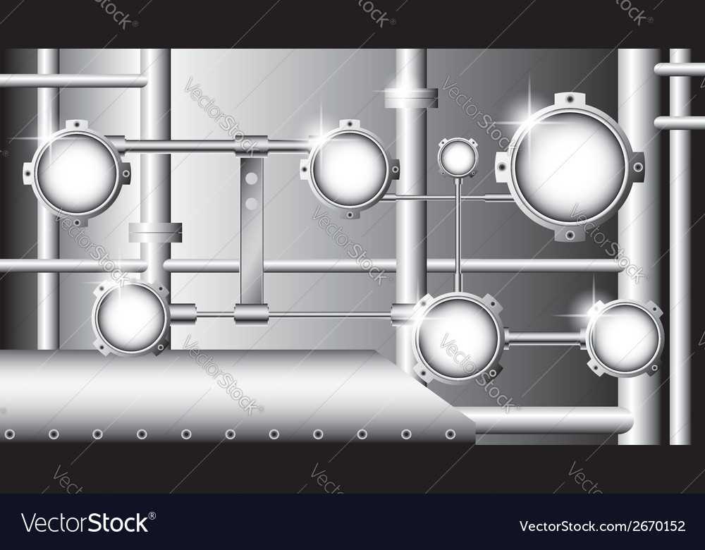 Industrial with metallic pipes and round devices vector | Price: 1 Credit (USD $1)