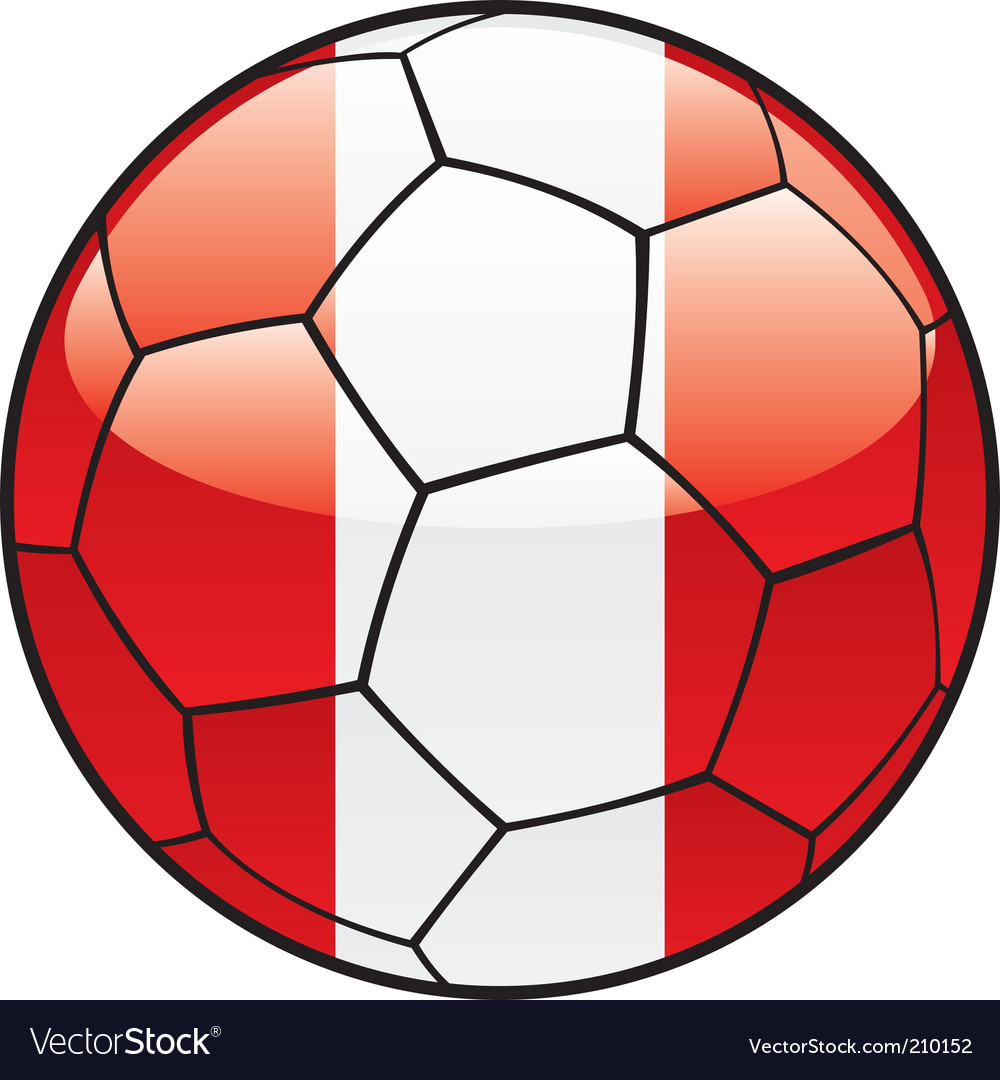 Peru flag on soccer ball vector | Price: 1 Credit (USD $1)