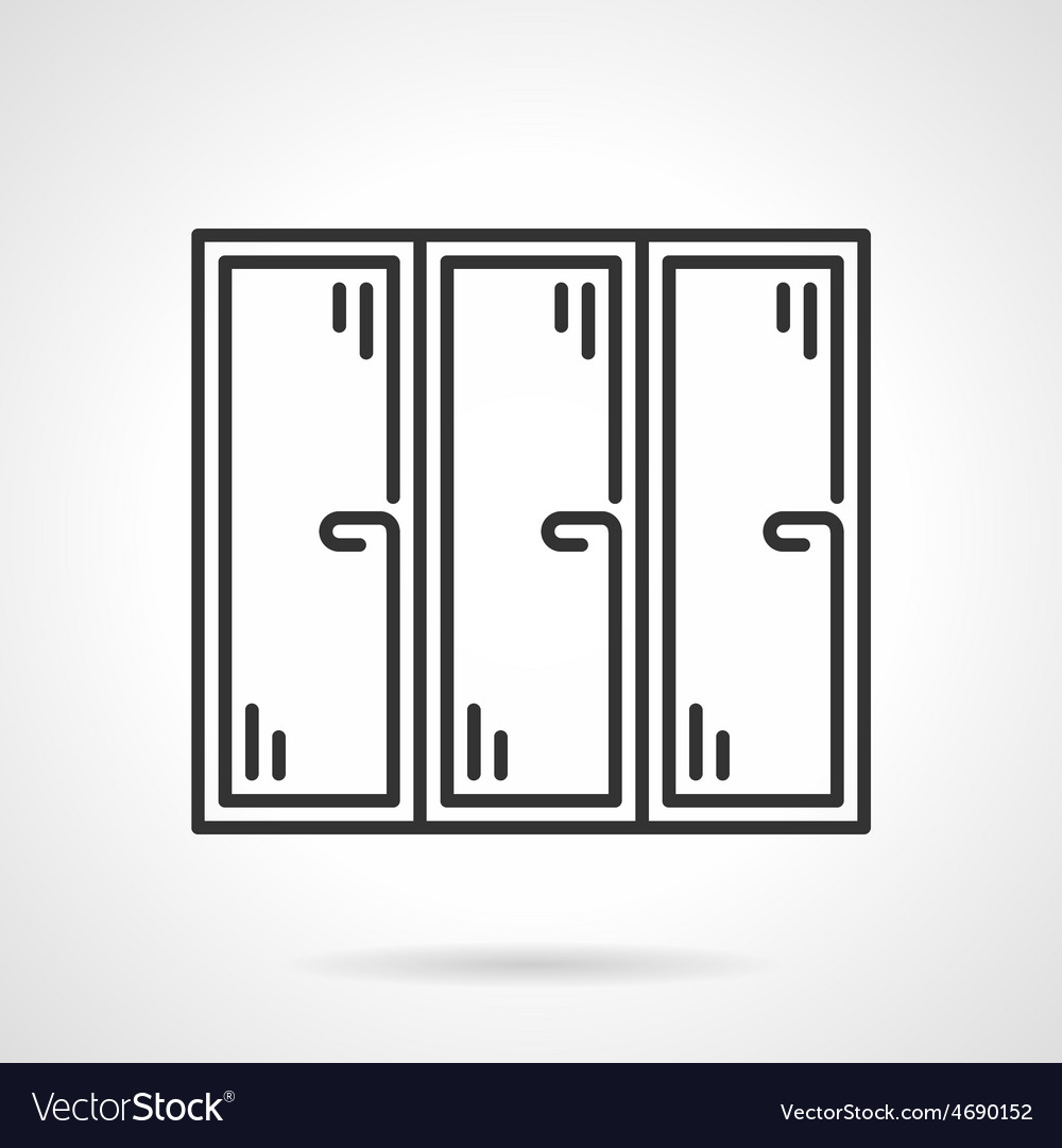 Triple window black line icon vector | Price: 1 Credit (USD $1)
