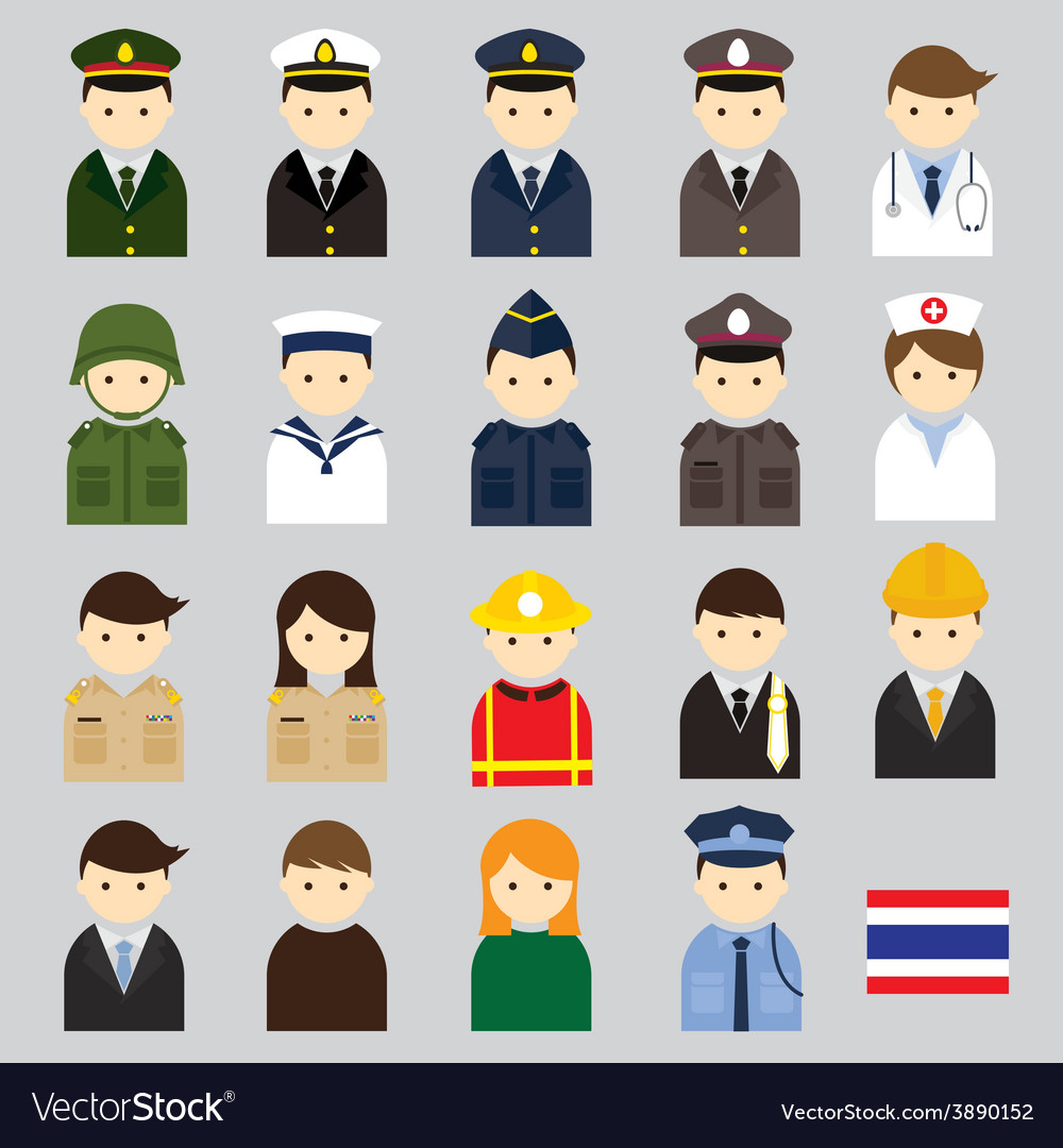 Various thai people and officer character icons vector | Price: 1 Credit (USD $1)