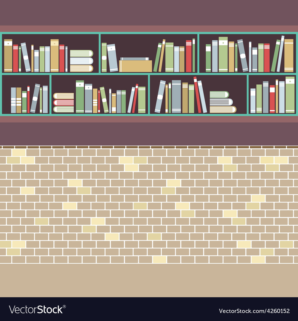 Vintage style bookshelf on brick wall vector | Price: 1 Credit (USD $1)