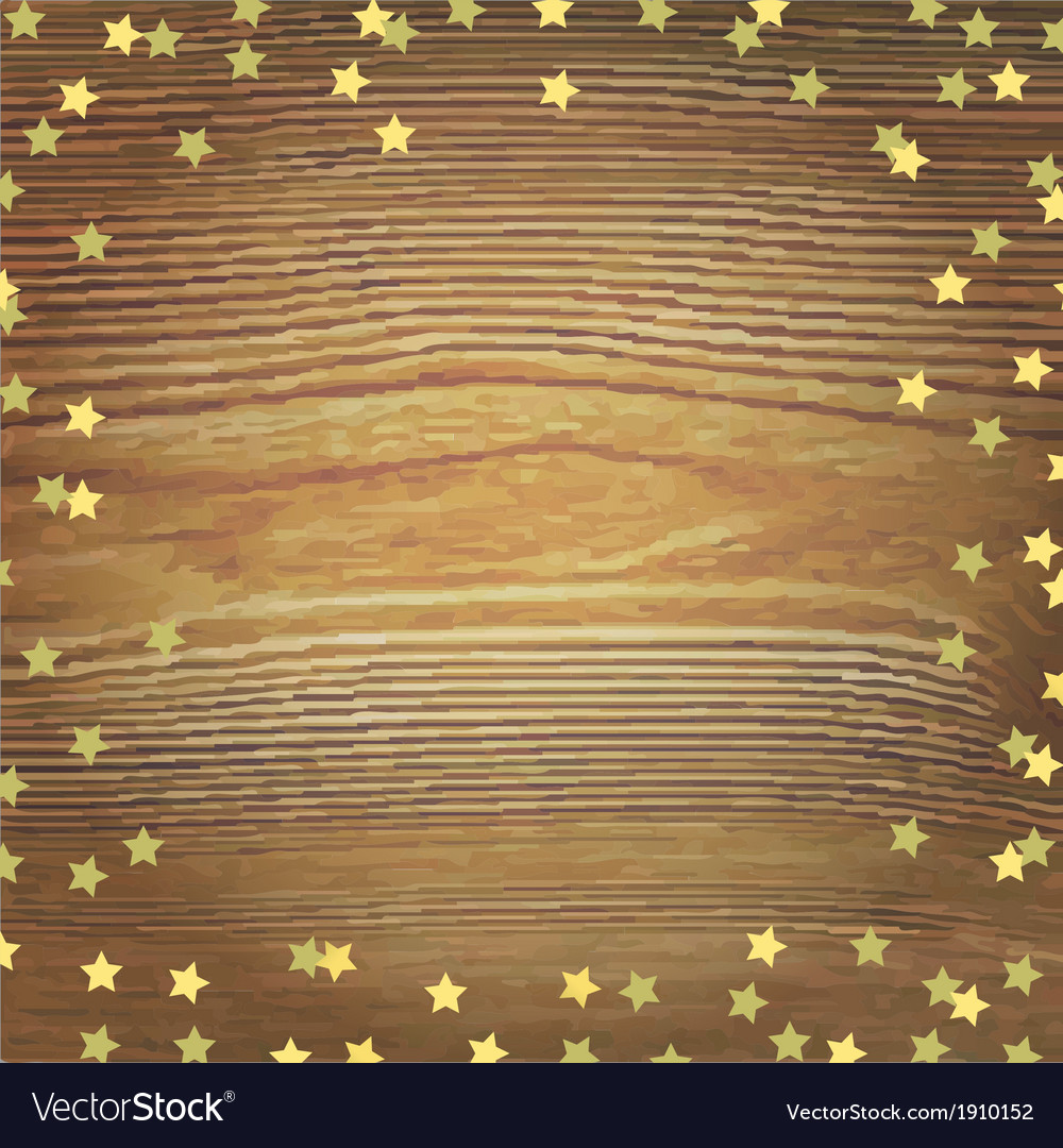 Wooden background with gold stars vector | Price: 1 Credit (USD $1)