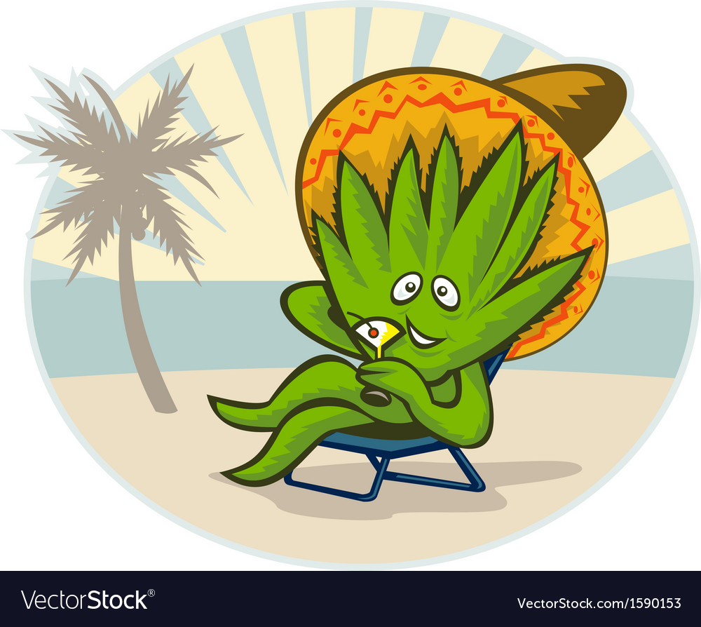 Agave plant cartoon sombrero hat martini beach vector | Price: 1 Credit (USD $1)