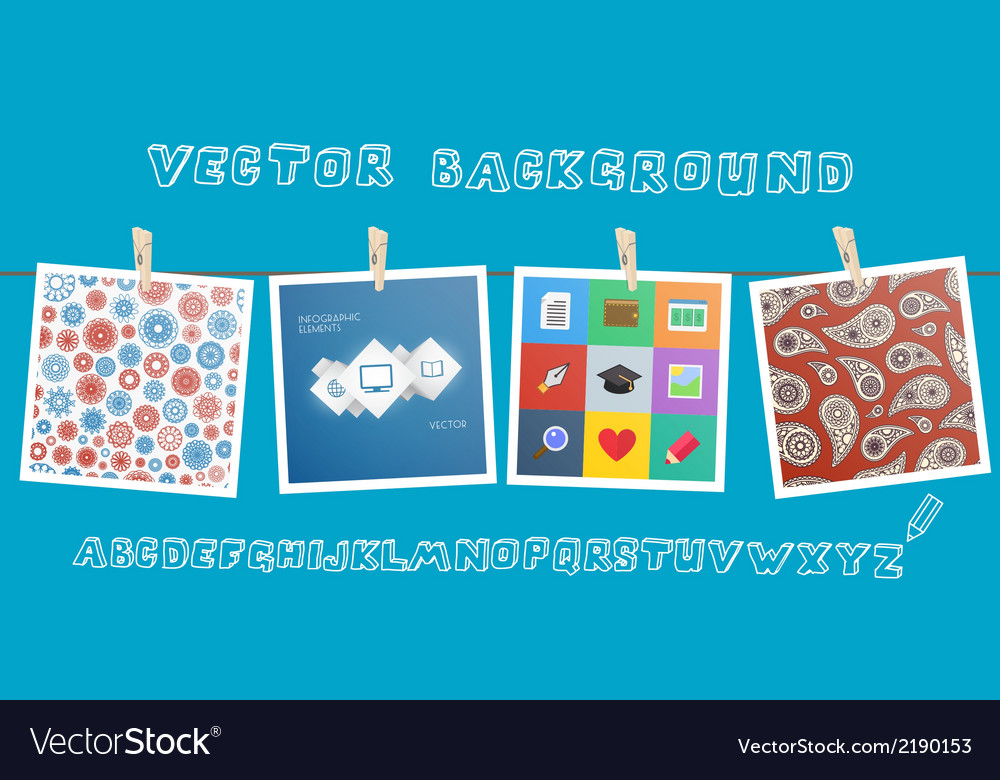 Background with hanging images vector | Price: 1 Credit (USD $1)