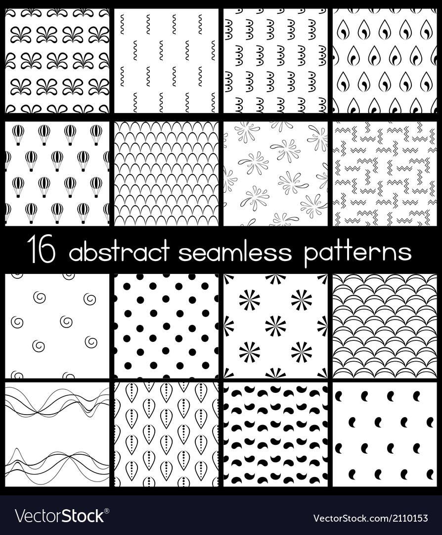 Black and white simple patterns vector