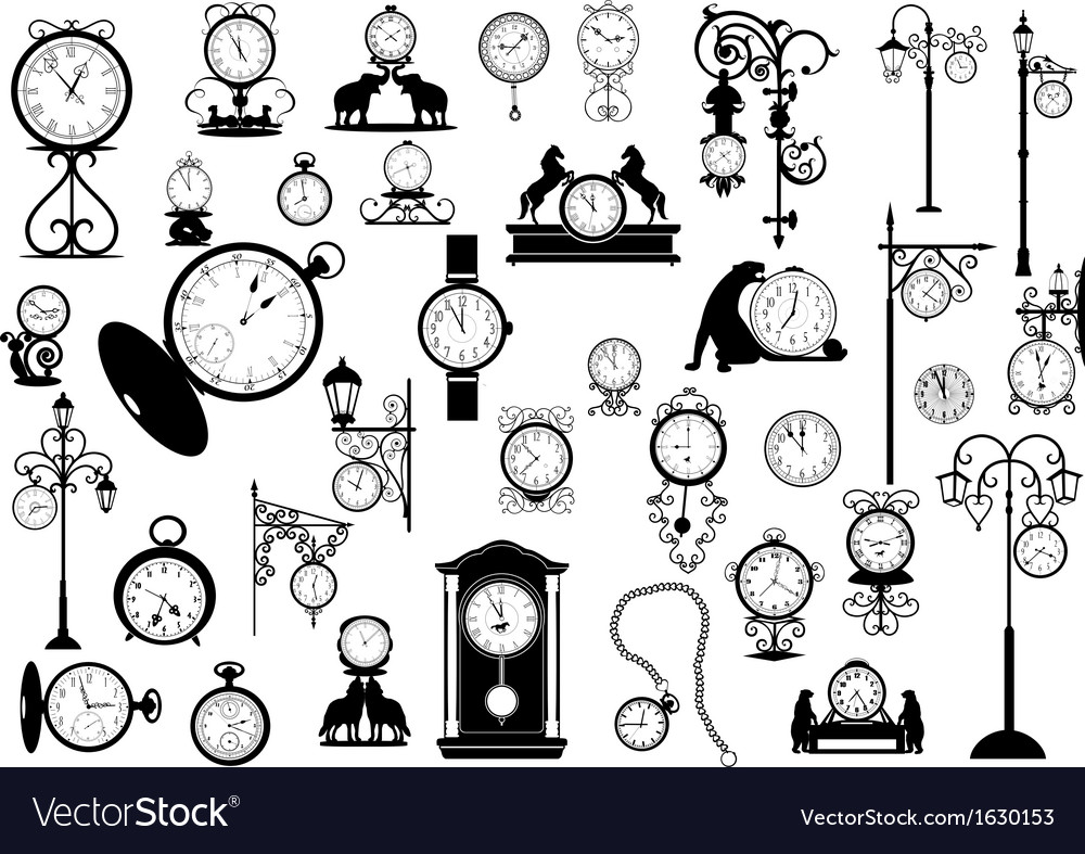 Clocks and watches vector | Price: 1 Credit (USD $1)