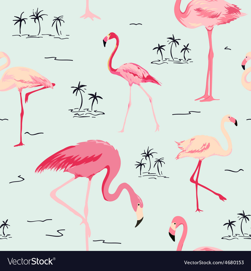 Flamingo bird background - retro seamless pattern vector | Price: 1 Credit (USD $1)