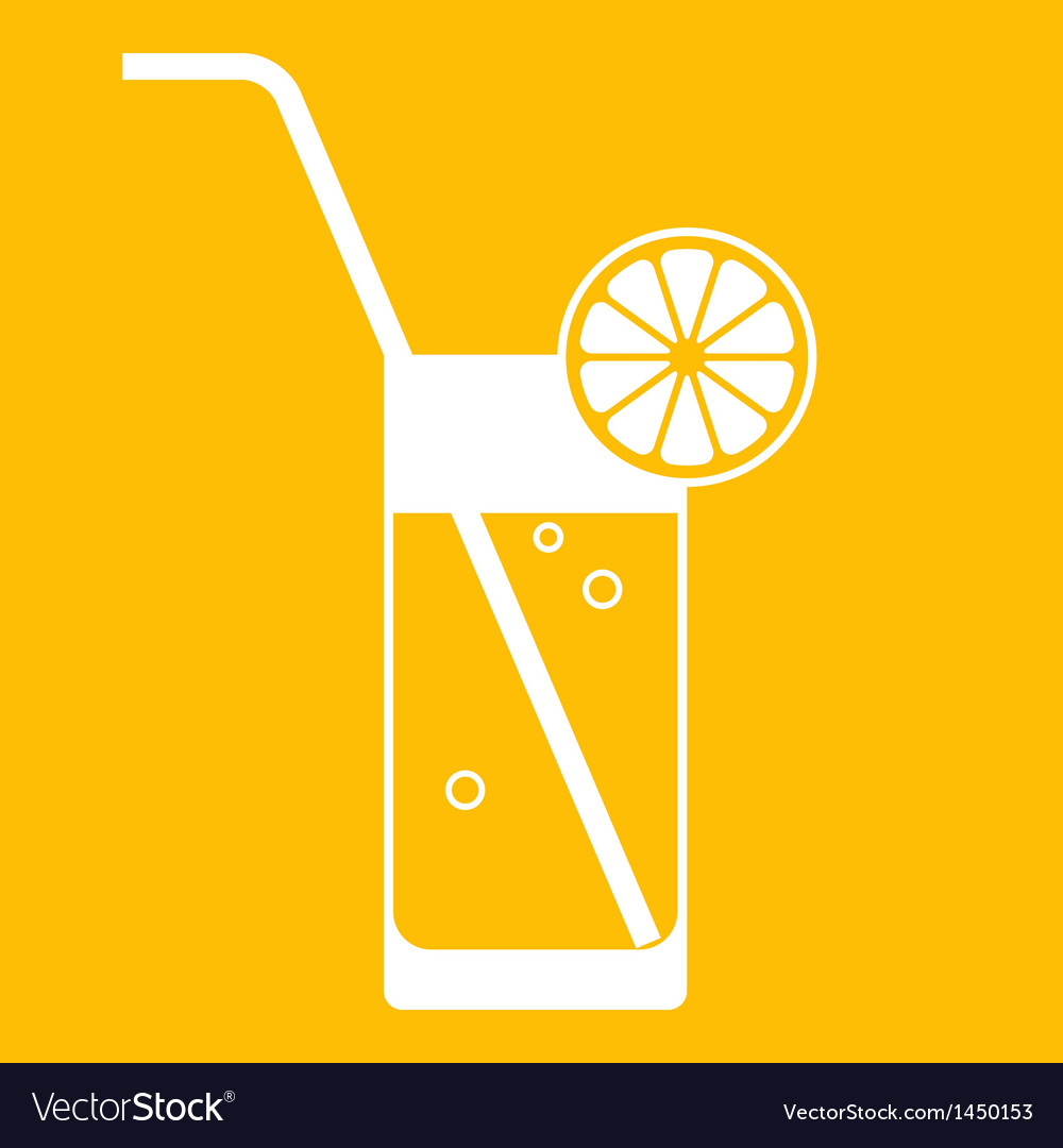 Glass of lemonade with drinking straw vector | Price: 1 Credit (USD $1)