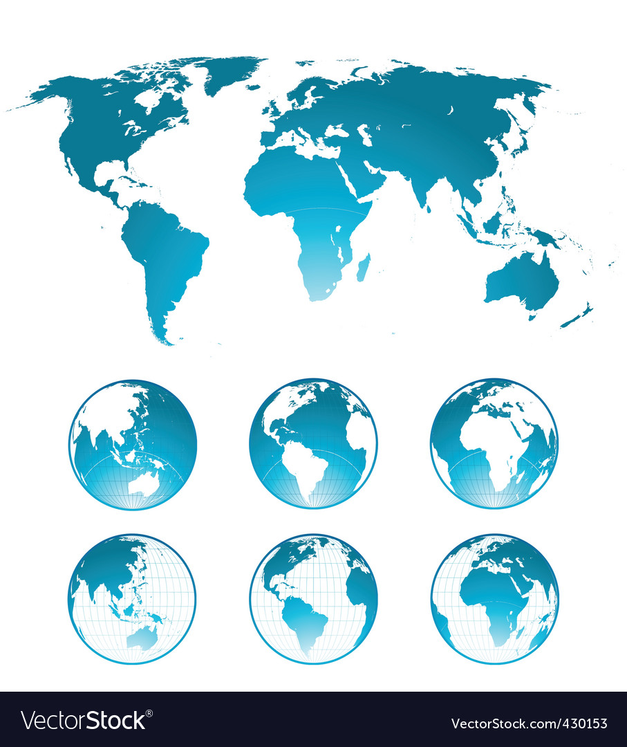 Globes and world map vector | Price: 1 Credit (USD $1)