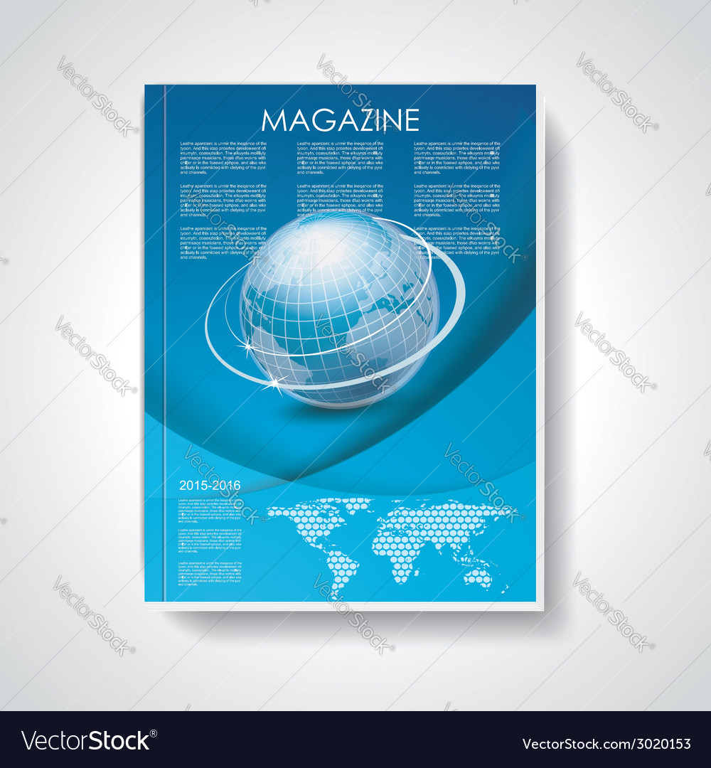 Magazine or brochure cover with world map and vector | Price: 1 Credit (USD $1)