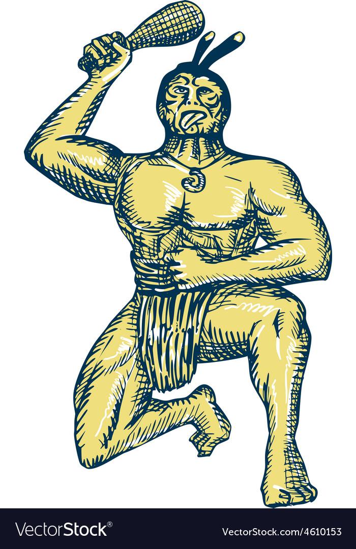 Maori warrior wielding patu kneeling etching vector | Price: 1 Credit (USD $1)