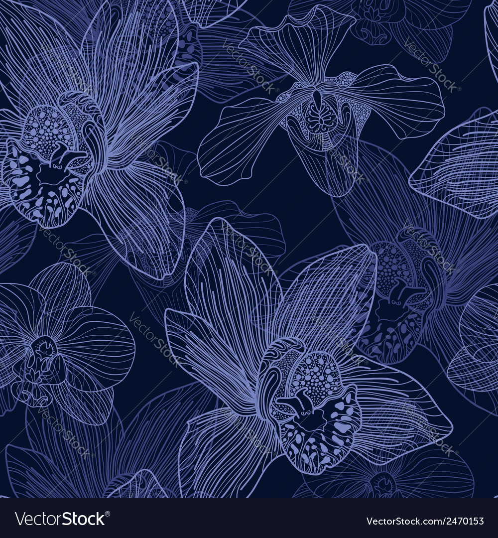 Orchid engraving seamless pattern vector | Price: 1 Credit (USD $1)