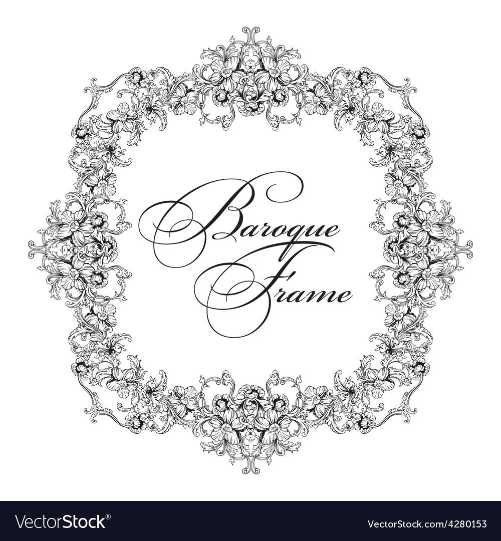 Ornamental frame baroque pattern vector | Price: 1 Credit (USD $1)