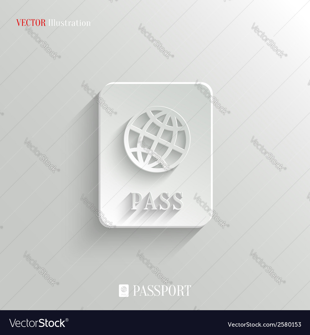 Passport icon - white app button vector | Price: 1 Credit (USD $1)