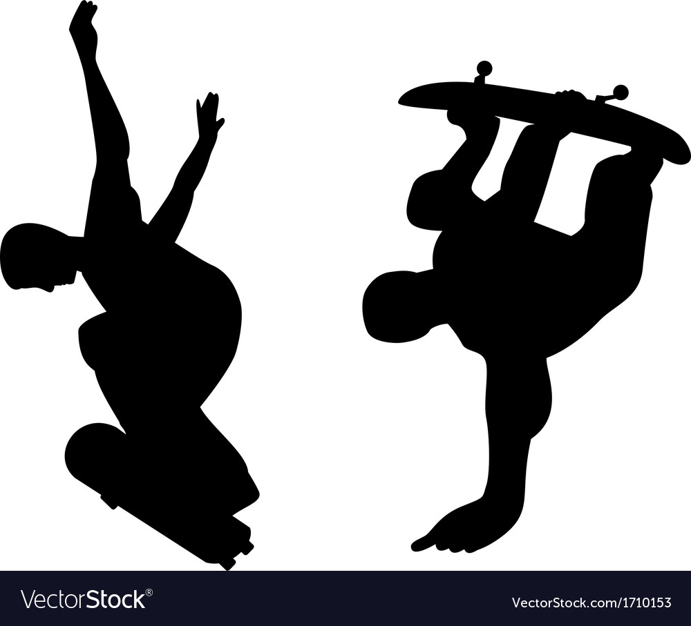Skateboarder silhouette vector | Price: 1 Credit (USD $1)