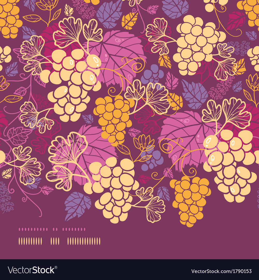 Sweet grape vines horizontal border seamless vector | Price: 1 Credit (USD $1)
