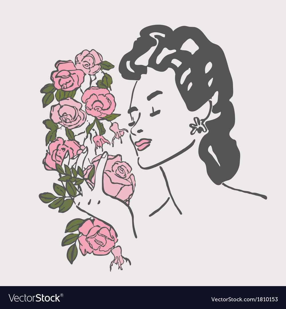Woman inhales aroma of flowers vector | Price: 1 Credit (USD $1)