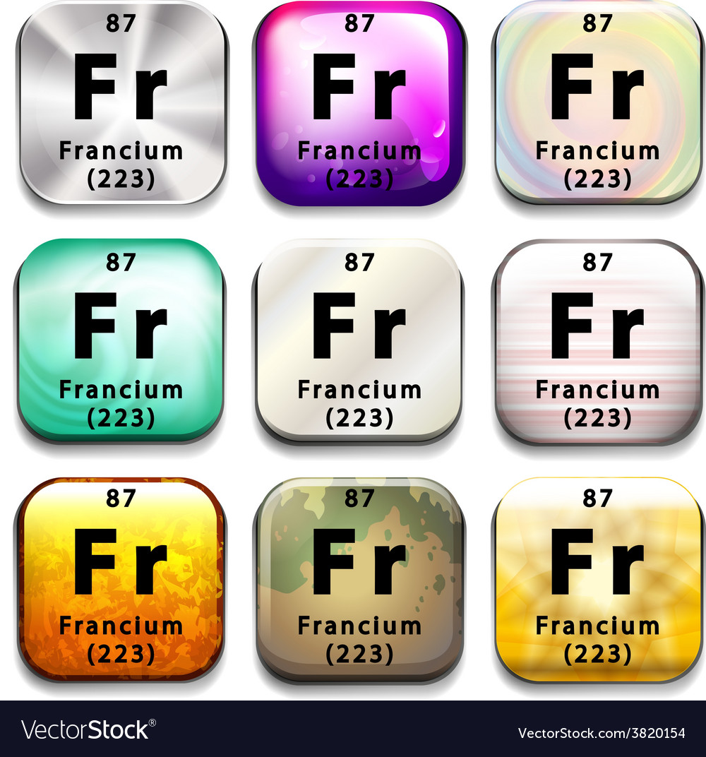 A button with the chemical element francium vector   Price: 1 Credit (USD $1)