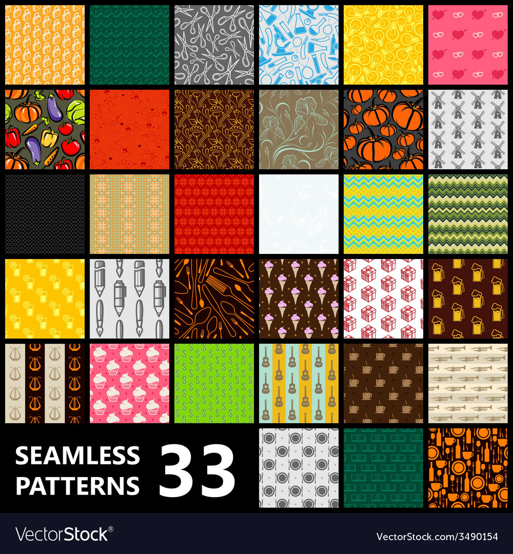 Big set of 33 seamless patterns food and drinks vector | Price: 1 Credit (USD $1)