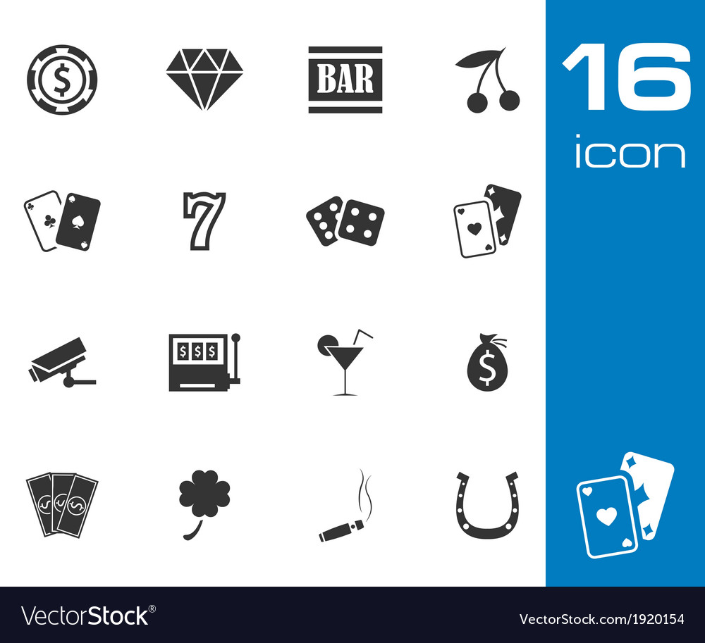 Black casino icons set on white background vector | Price: 1 Credit (USD $1)