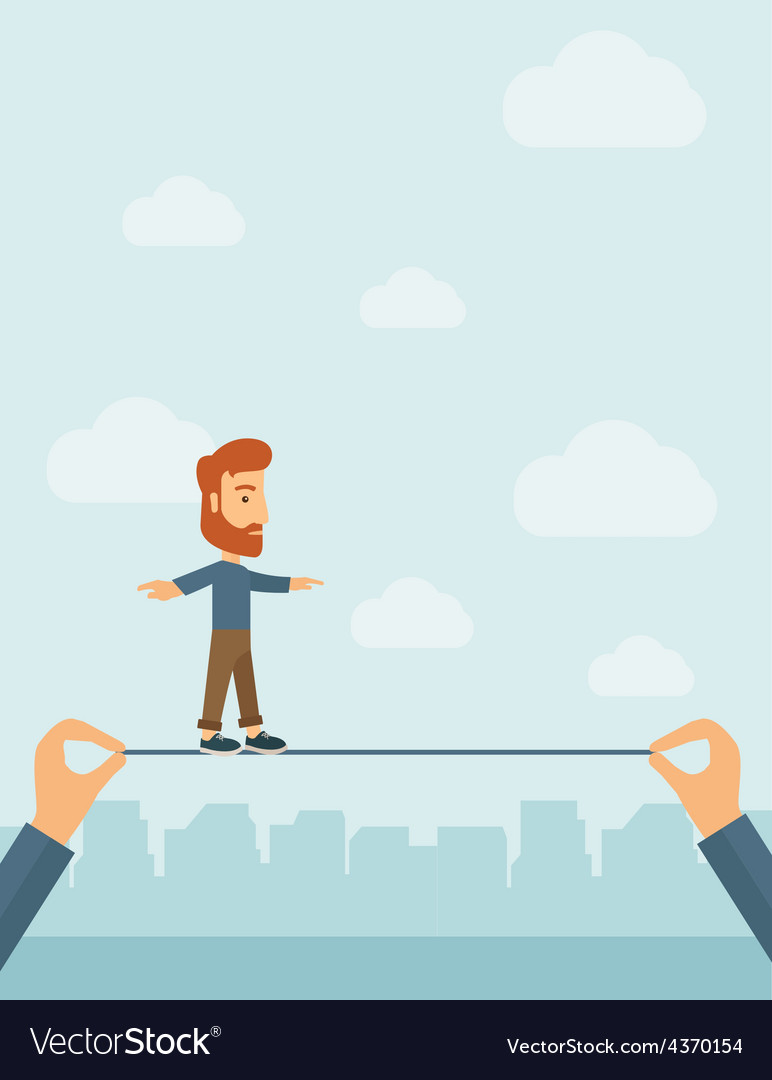 Businessman walking on wire vector | Price: 1 Credit (USD $1)