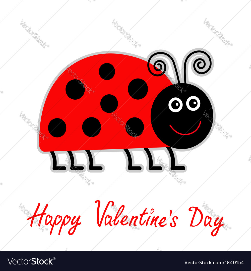 Cartoon red lady bug happy valentines day vector | Price: 1 Credit (USD $1)