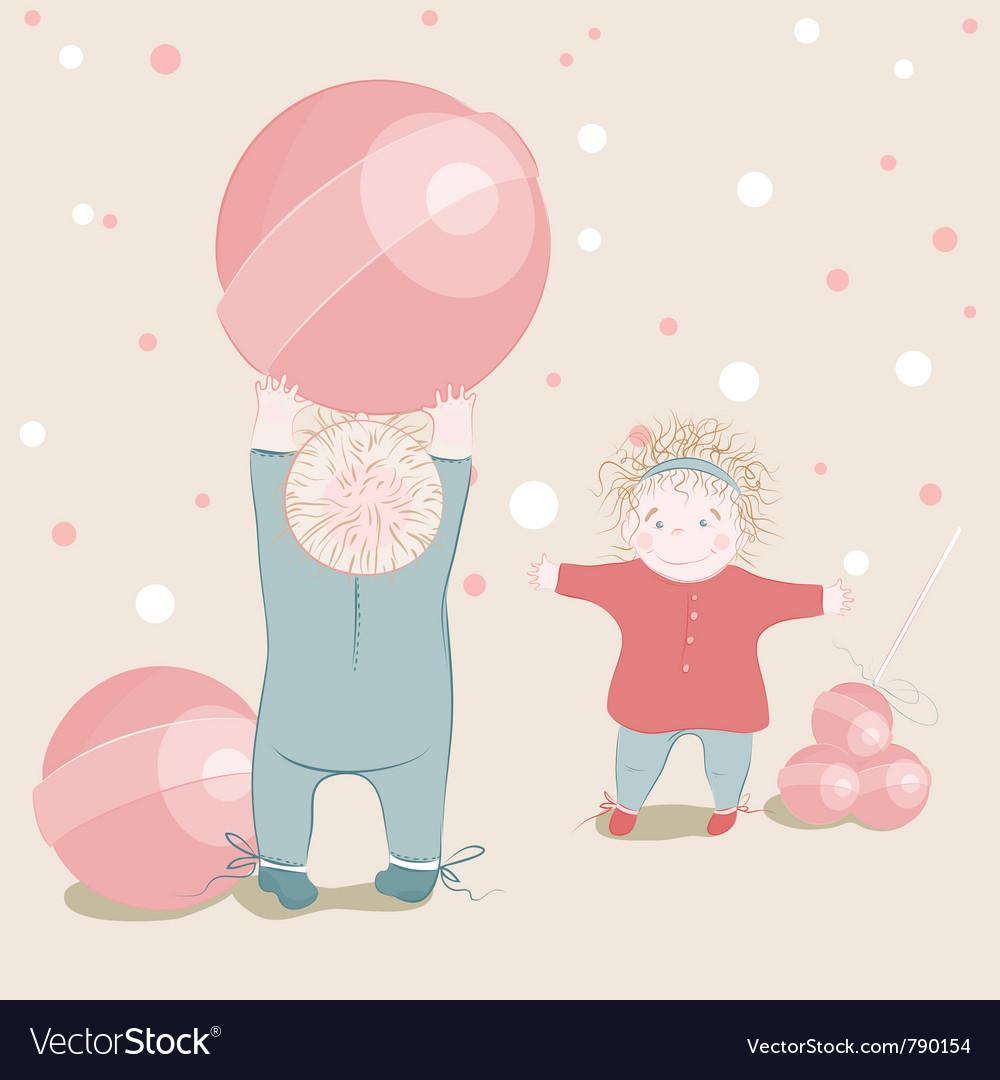 Children playing lollipop balls vector | Price: 3 Credit (USD $3)