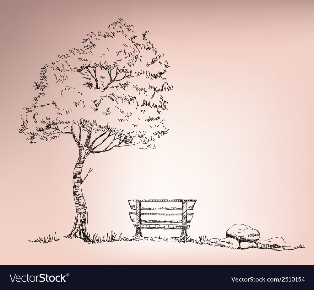 Chire beside the tree vector | Price: 1 Credit (USD $1)