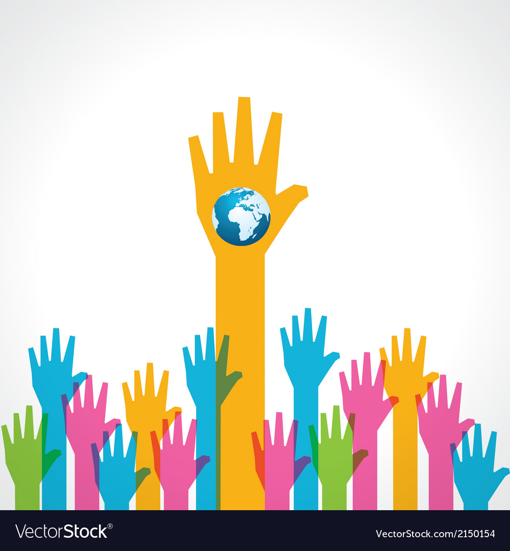 Colorful helping hand with earth icon vector | Price: 1 Credit (USD $1)