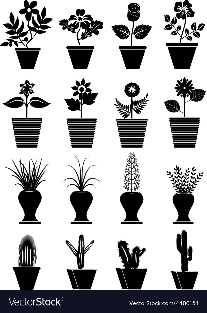 Flower pot icons set vector | Price: 3 Credit (USD $3)