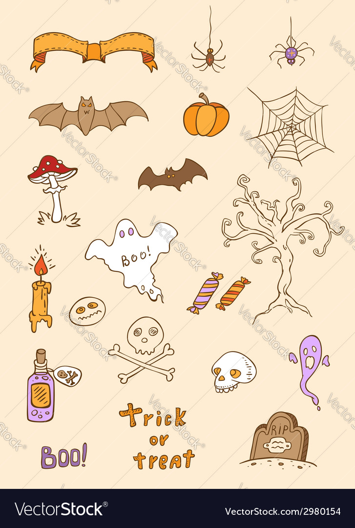 Halloween doodle elements vector | Price: 1 Credit (USD $1)