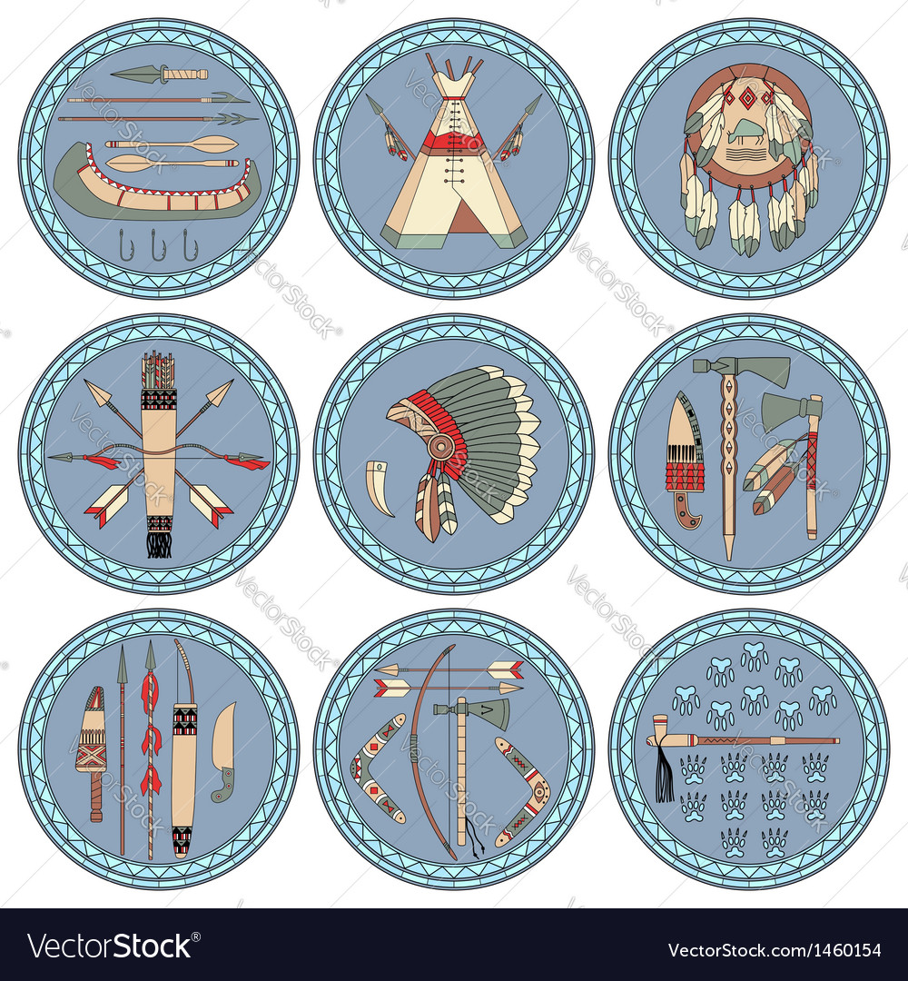 Nine native american labels vector | Price: 1 Credit (USD $1)