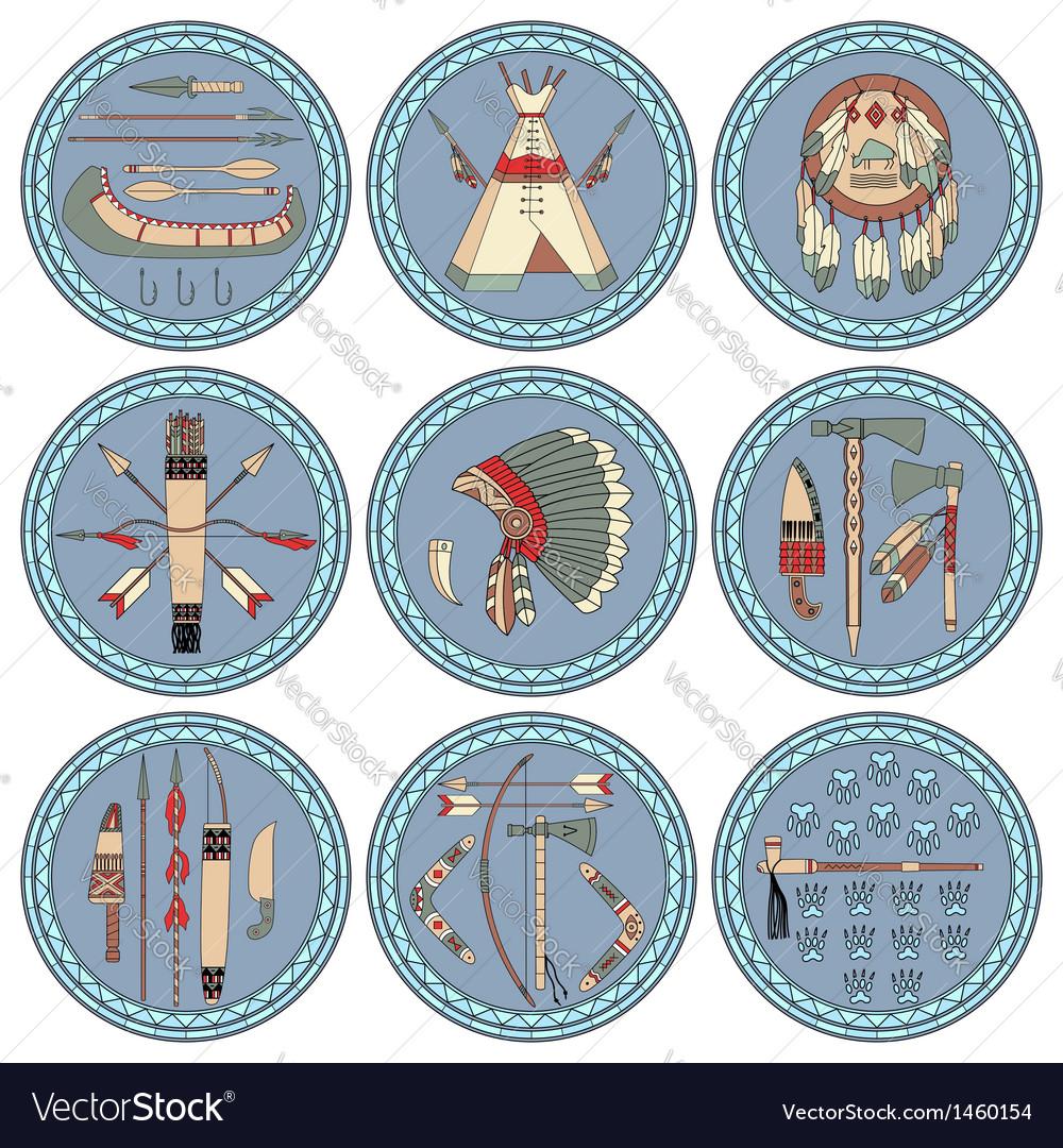 Nine native american labels vector | Price: 1 Credit (USD $1)