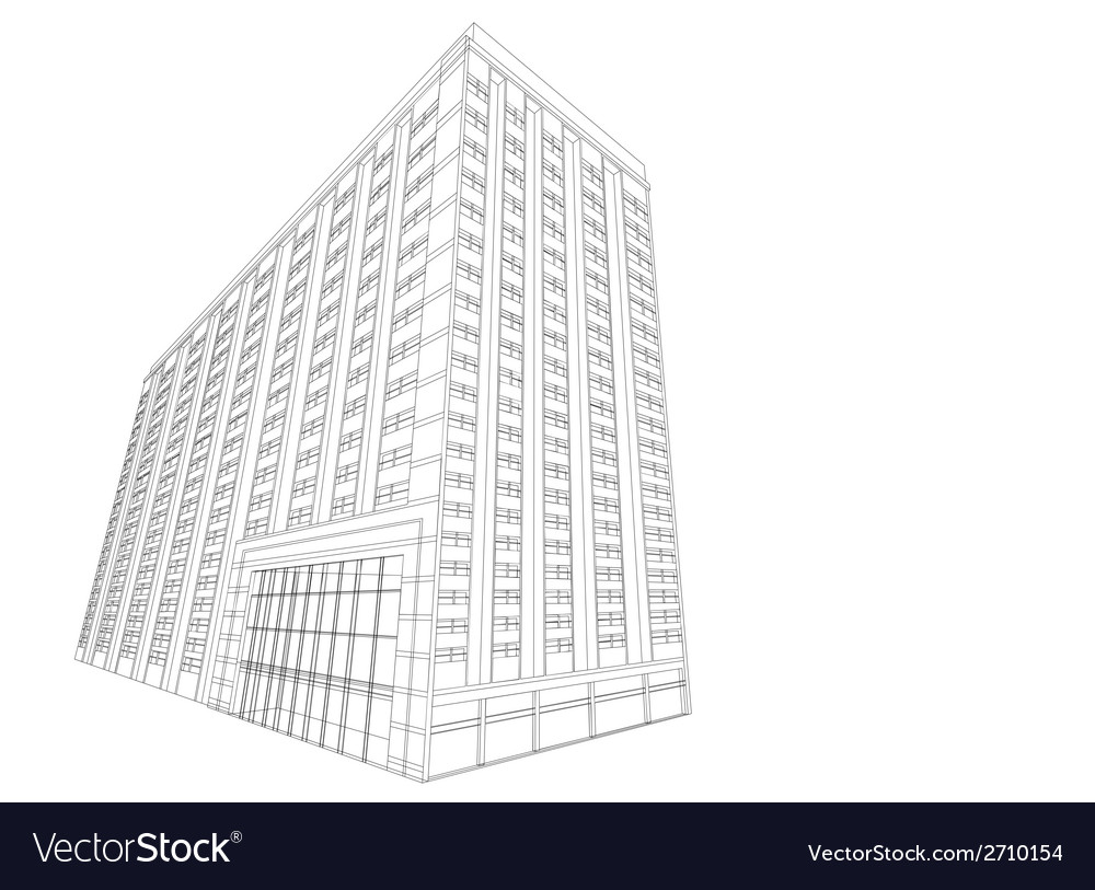 Residential wireframe building on a white vector | Price: 1 Credit (USD $1)