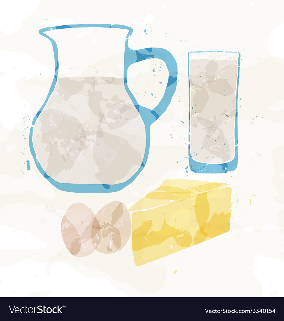 Set of dairy products from multi-colored spots vector | Price: 1 Credit (USD $1)