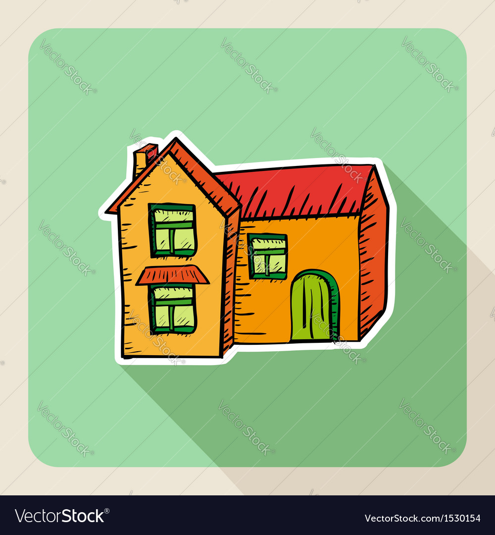 Sketch style real estate house vector | Price: 1 Credit (USD $1)