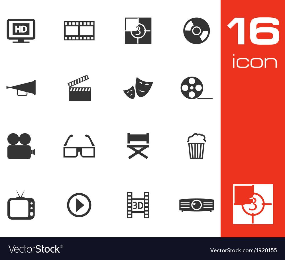 Black cinema icon set on white background vector | Price: 1 Credit (USD $1)