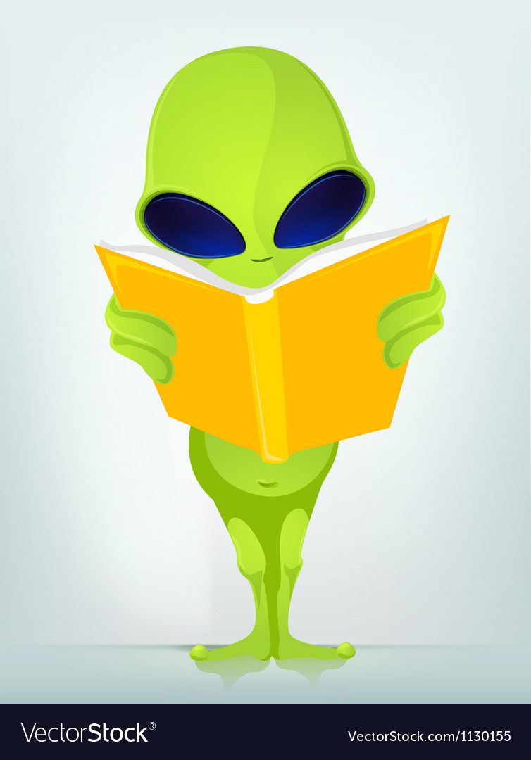 Cartoon book reading alien vector | Price: 1 Credit (USD $1)