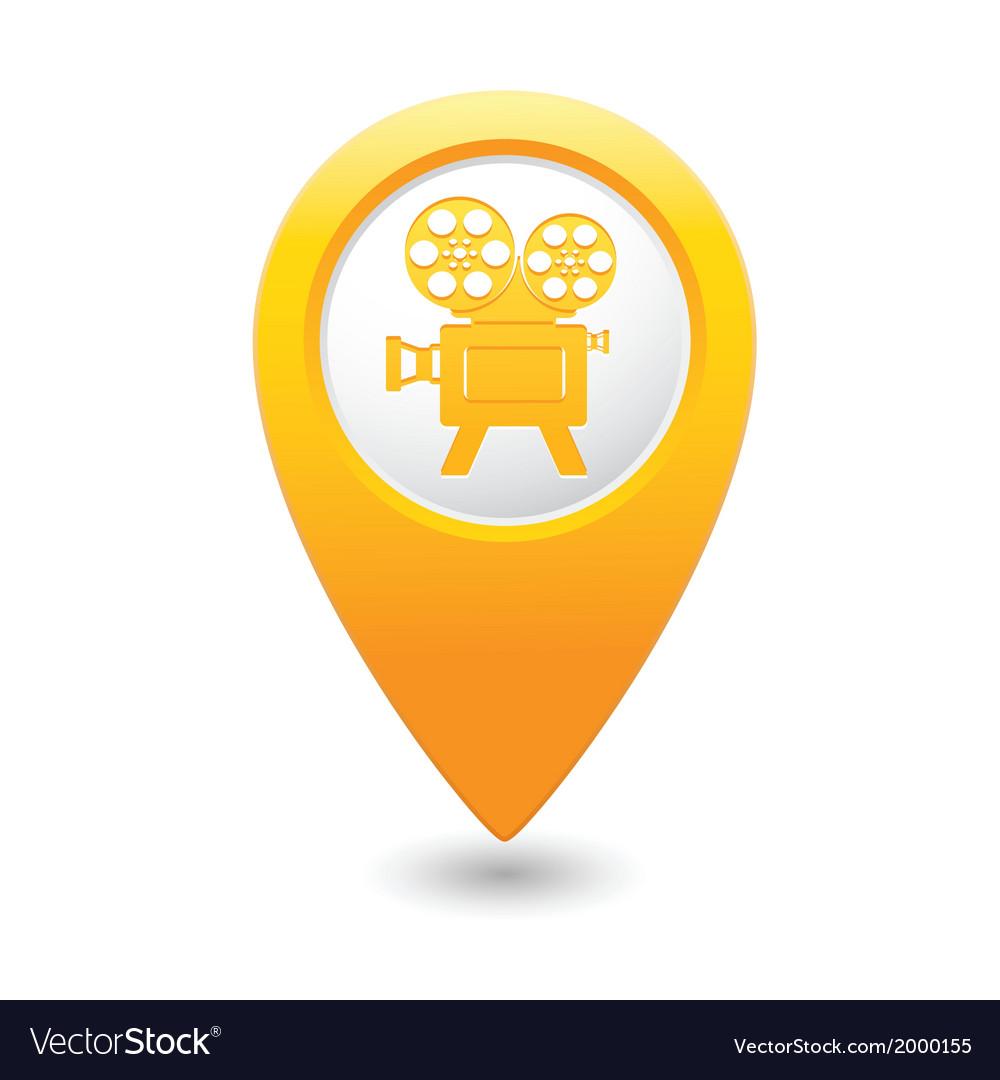 Cinema icon yellow map pointer vector | Price: 1 Credit (USD $1)