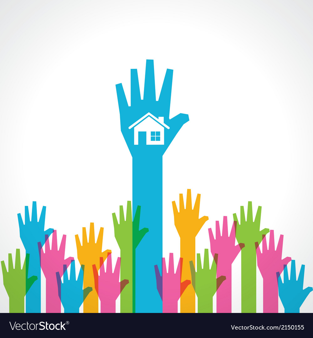 Colorful helping hand with home vector | Price: 1 Credit (USD $1)